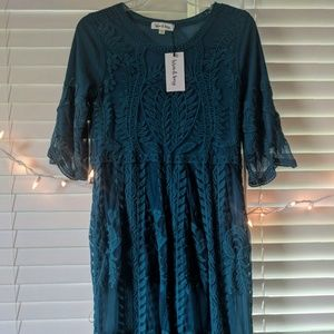 NWT Wren & Ivory Teal Lace Dress